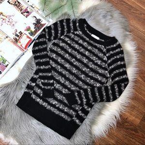 Lou & Grey Striped Raglan Textured Conrast Sweater